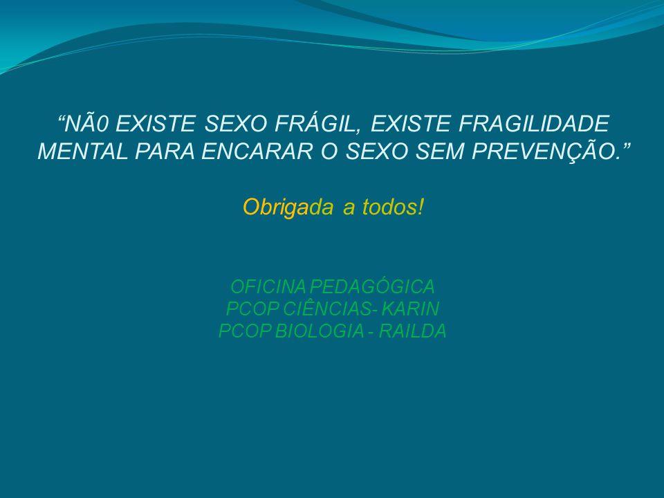 NÃ0 EXISTE SEXO FRÁGIL, EXISTE FRAGILIDADE MENTAL PARA ENCARAR O SEXO SEM PREVENÇÃO. Obrigada a todos.