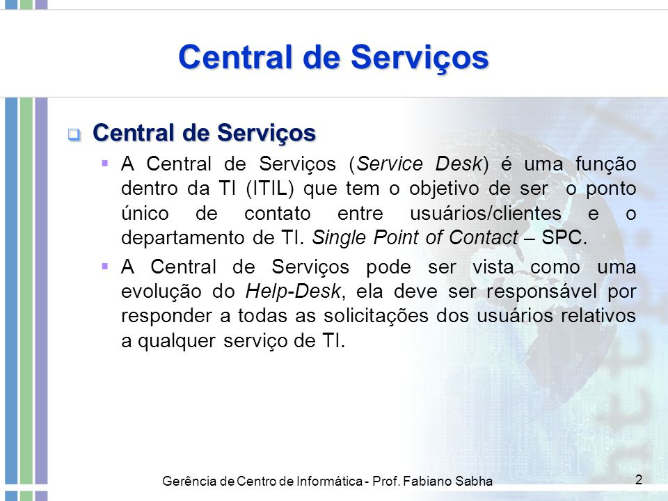 Central de Serviços Central de Serviços