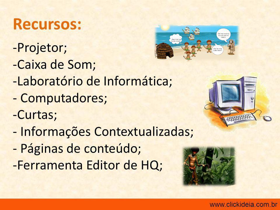 Recursos: Projetor; Caixa de Som; Laboratório de Informática;