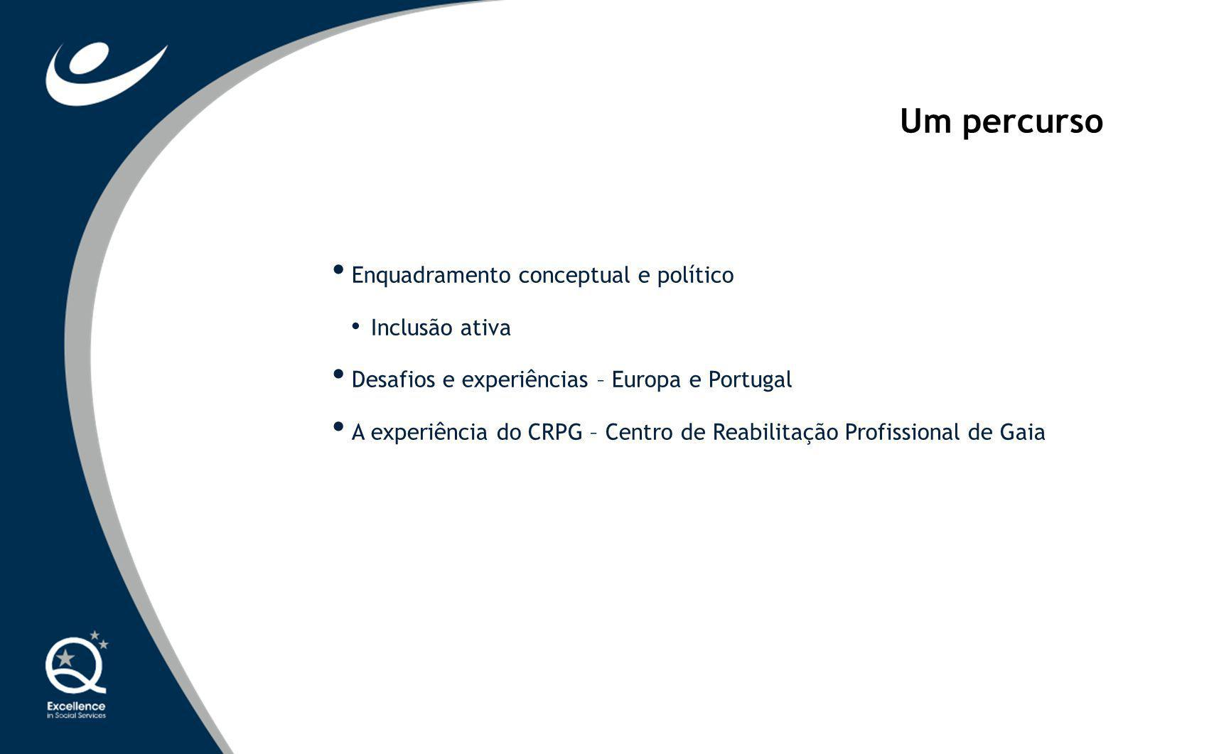 Um percurso Enquadramento conceptual e político Inclusão ativa