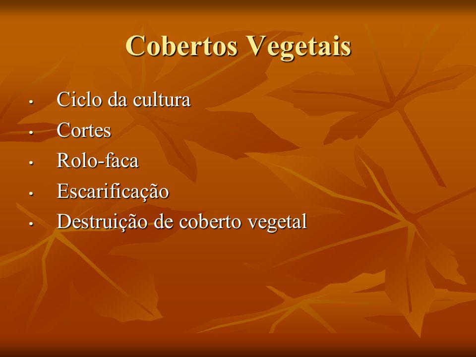 Cobertos Vegetais Ciclo da cultura Cortes Rolo-faca Escarificação