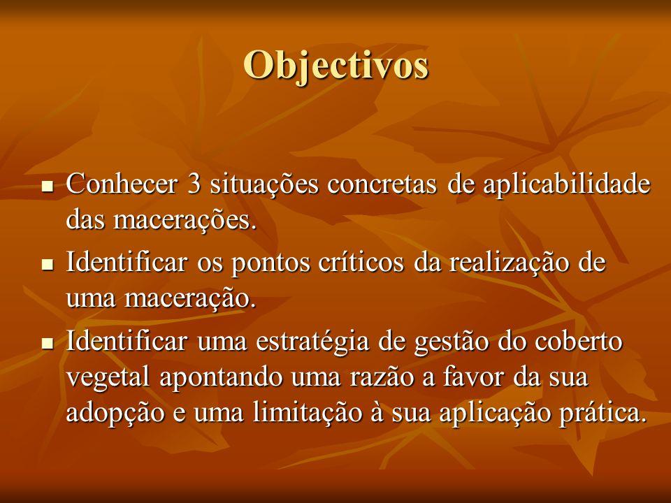 Objectivos Conhecer 3 situações concretas de aplicabilidade das macerações. Identificar os pontos críticos da realização de uma maceração.