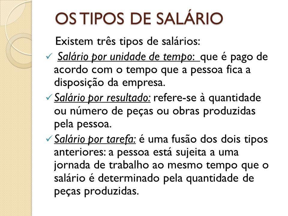 OS TIPOS DE SALÁRIO Existem três tipos de salários: