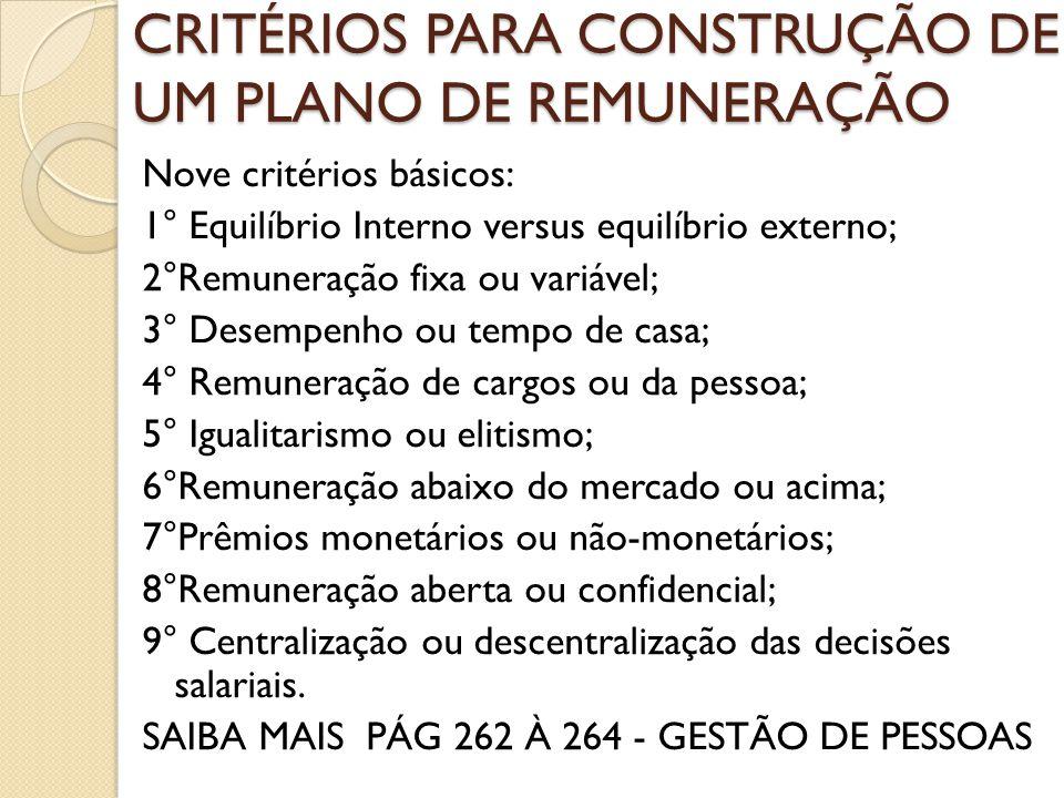 CRITÉRIOS PARA CONSTRUÇÃO DE UM PLANO DE REMUNERAÇÃO