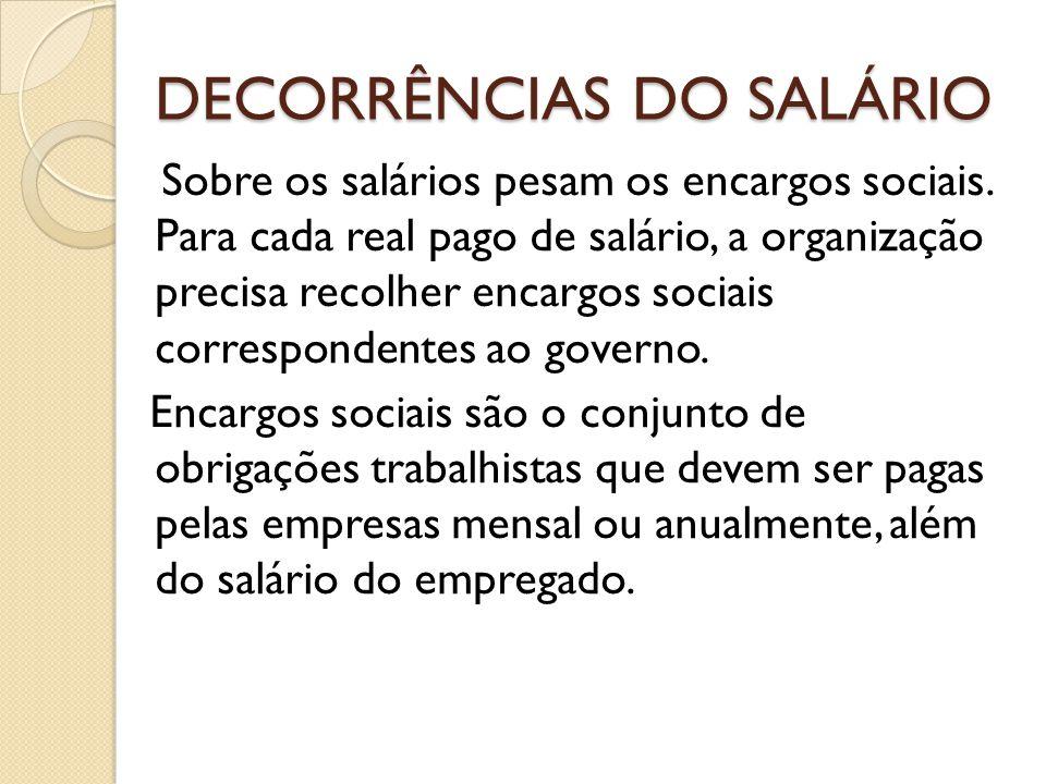 DECORRÊNCIAS DO SALÁRIO