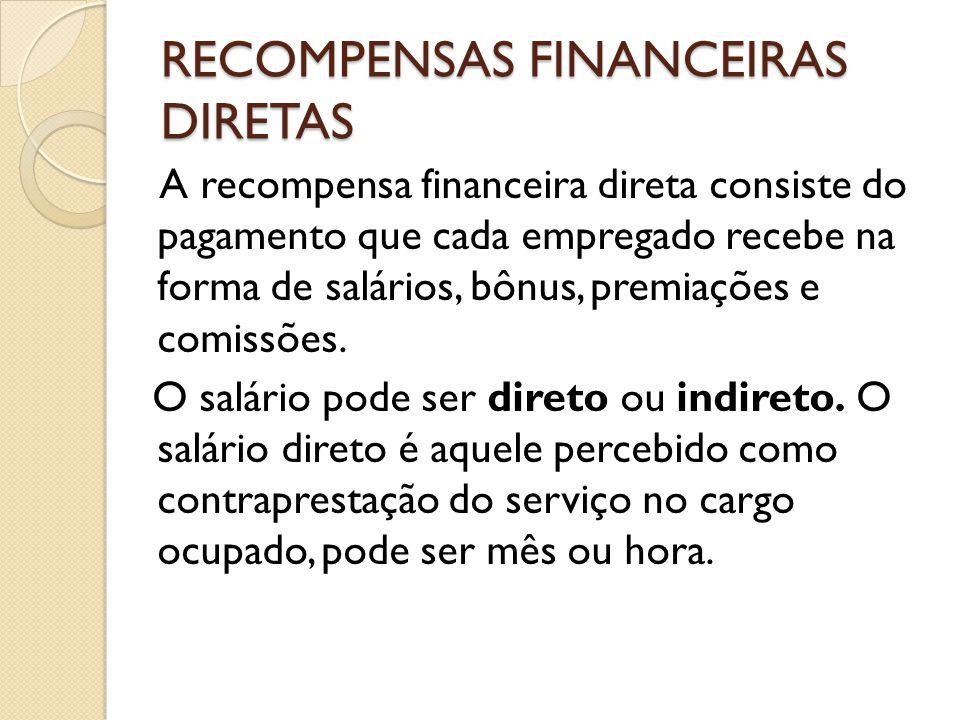 RECOMPENSAS FINANCEIRAS DIRETAS