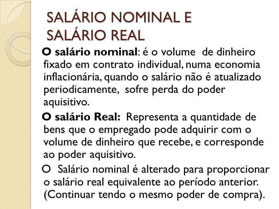 SALÁRIO NOMINAL E SALÁRIO REAL