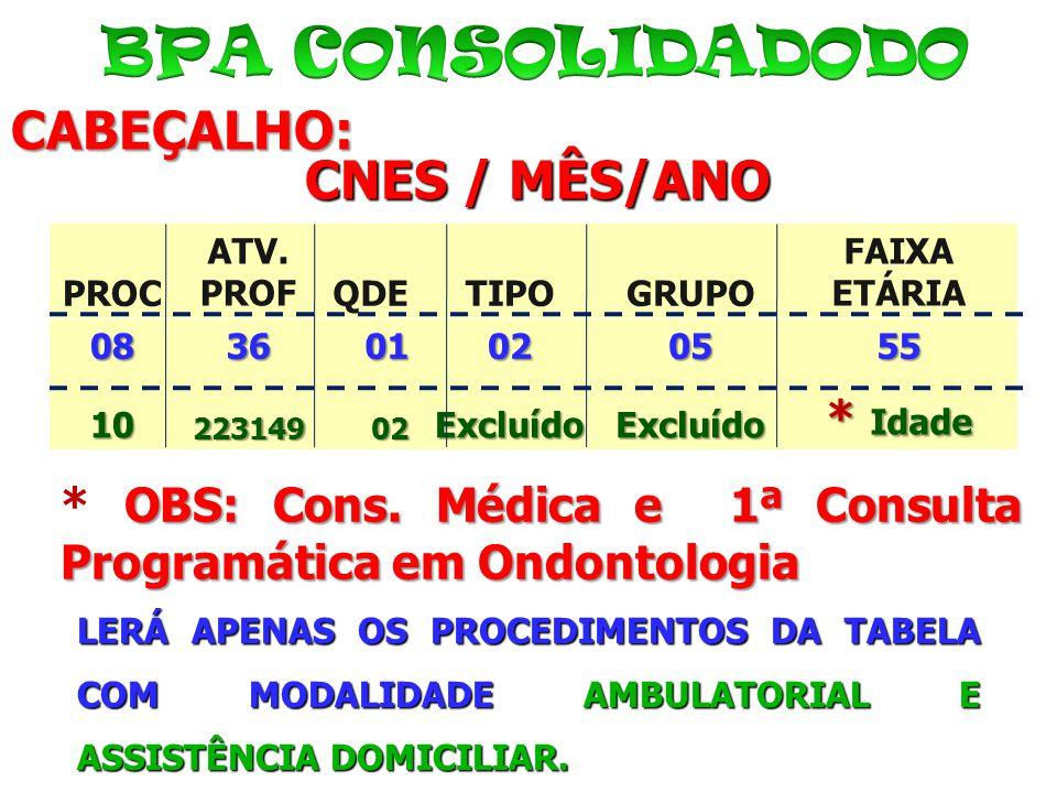 BPA CONSOLIDADODO CABEÇALHO: CNES / MÊS/ANO * Idade