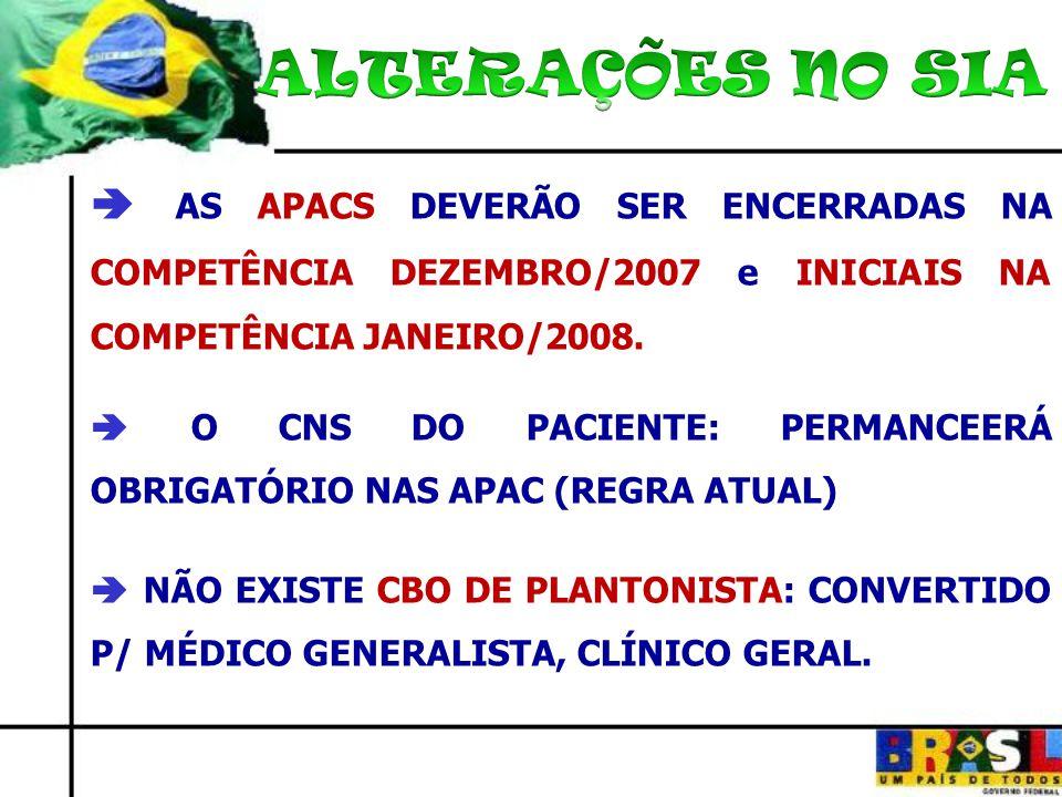 ALTERAÇÕES NO SIA  AS APACS DEVERÃO SER ENCERRADAS NA COMPETÊNCIA DEZEMBRO/2007 e INICIAIS NA COMPETÊNCIA JANEIRO/2008.