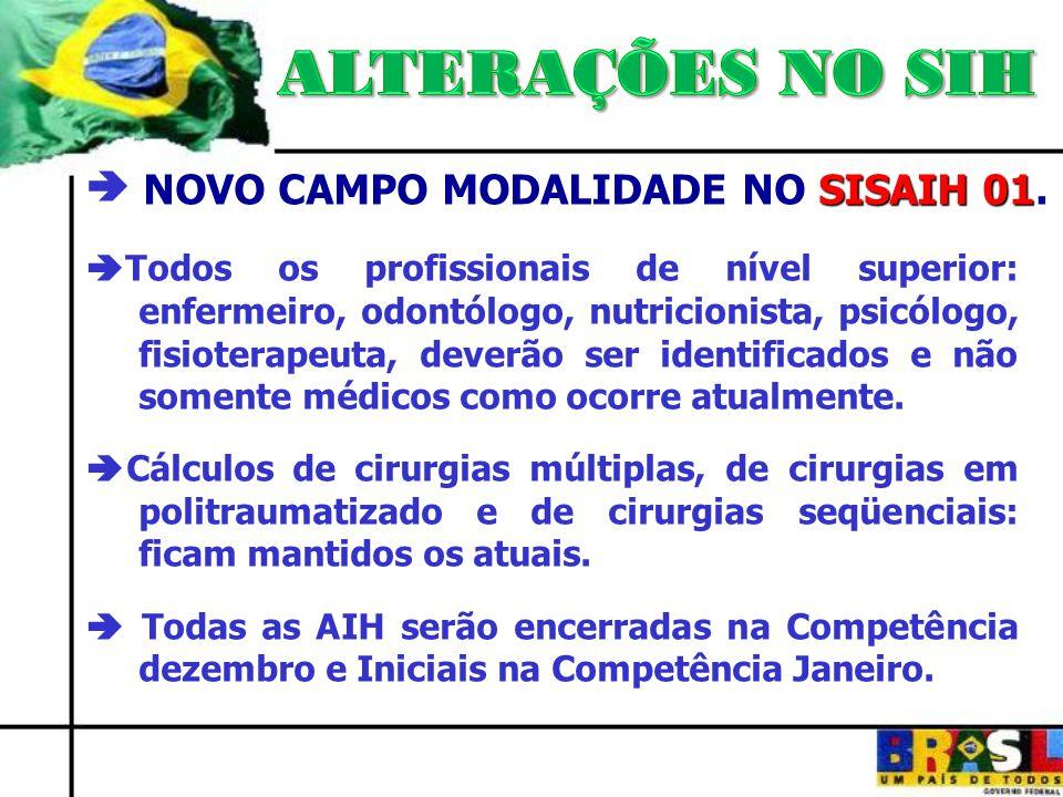 ALTERAÇÕES NO SIH  NOVO CAMPO MODALIDADE NO SISAIH 01.