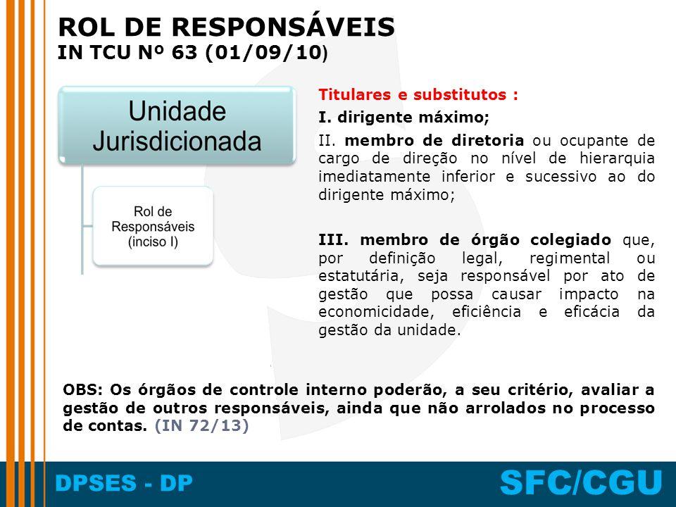 ROL DE RESPONSÁVEIS IN TCU Nº 63 (01/09/10) Titulares e substitutos :