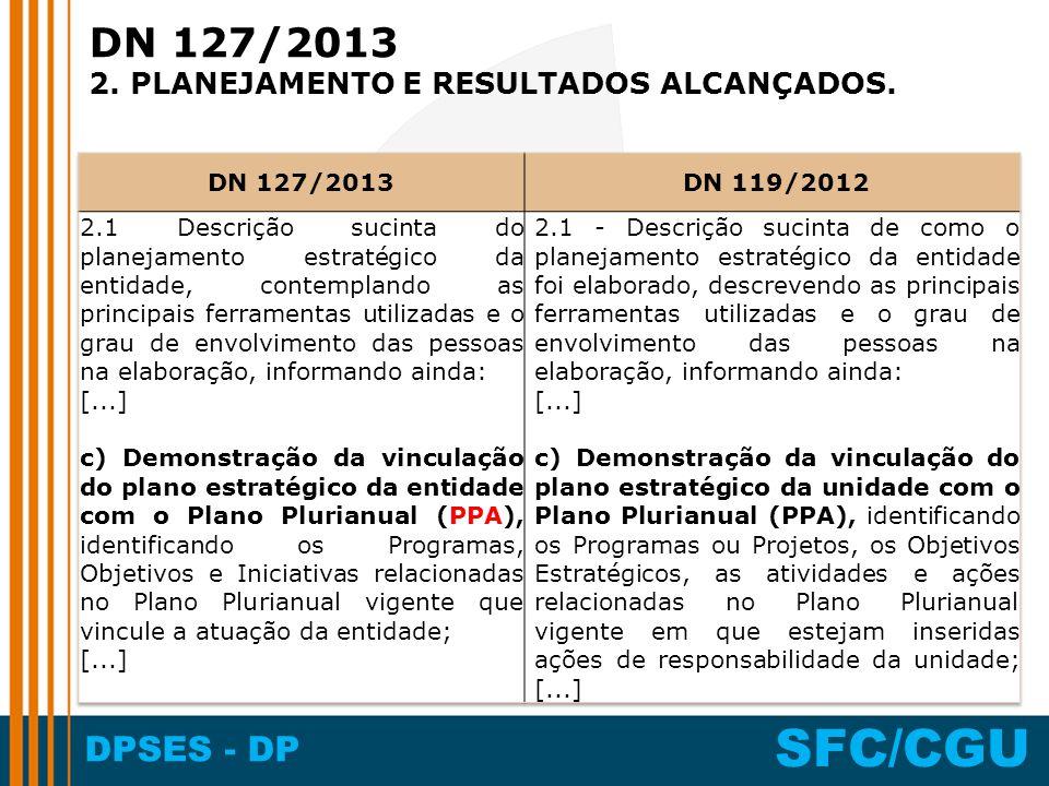 DN 127/2013 2. PLANEJAMENTO E RESULTADOS ALCANÇADOS. DN 127/2013
