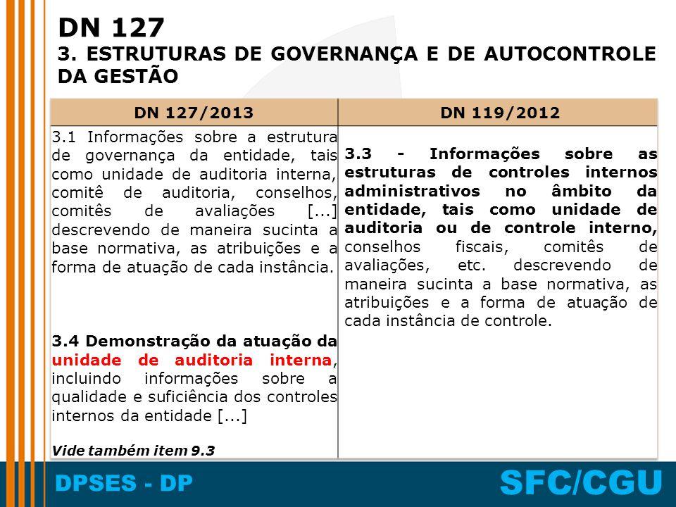 DN 127 3. ESTRUTURAS DE GOVERNANÇA E DE AUTOCONTROLE DA GESTÃO