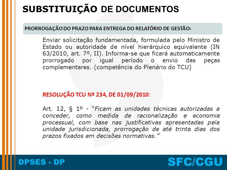 SUBSTITUIÇÃO DE DOCUMENTOS