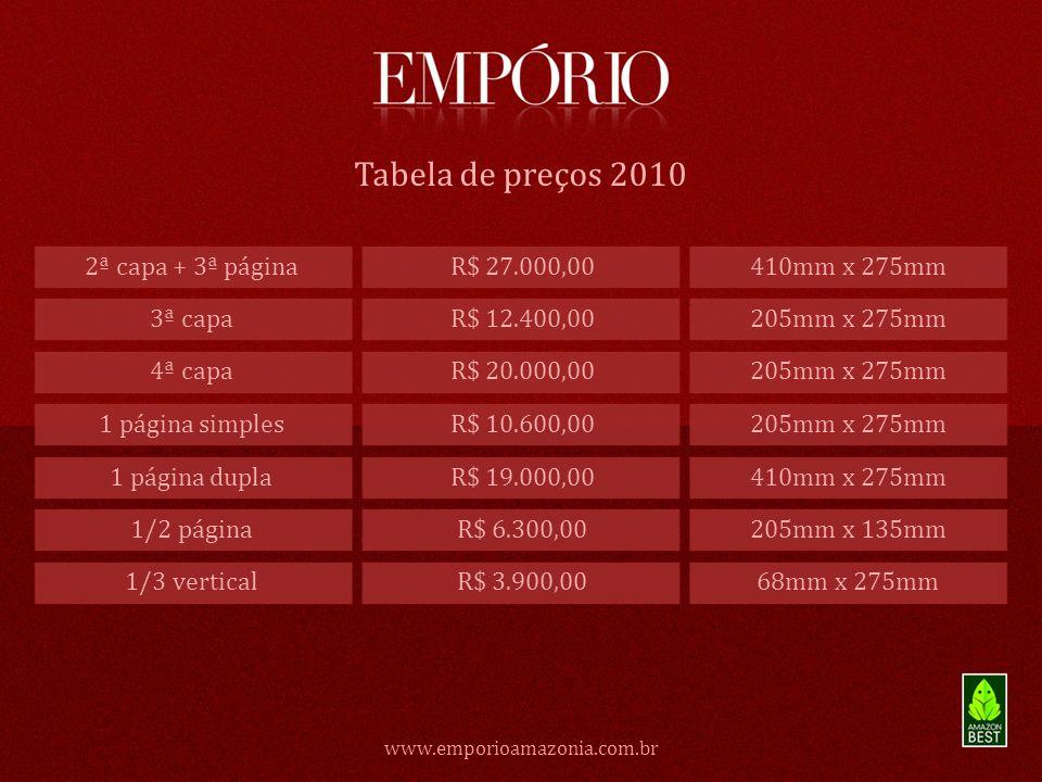 Tabela de preços 2010 2ª capa + 3ª página R$ 27.000,00 410mm x 275mm