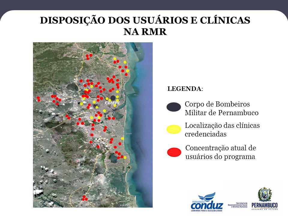 DISPOSIÇÃO DOS USUÁRIOS E CLÍNICAS NA RMR