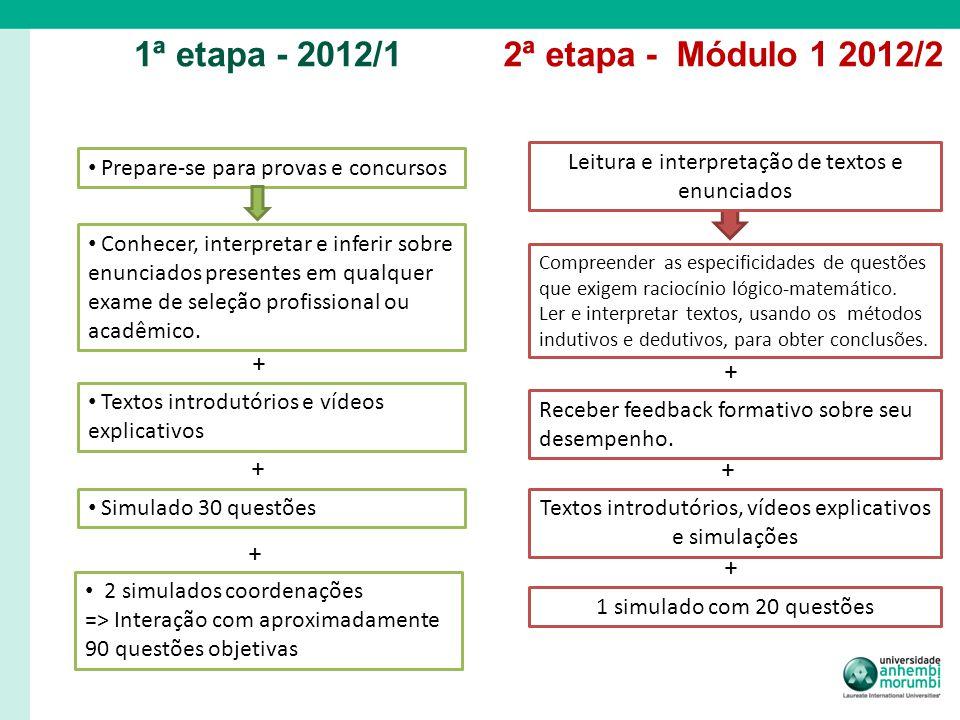 1ª etapa - 2012/1 2ª etapa - Módulo 1 2012/2