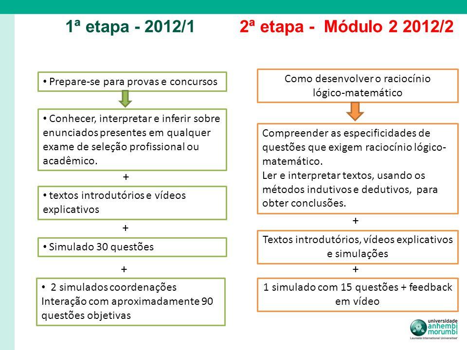 1ª etapa - 2012/1 2ª etapa - Módulo 2 2012/2