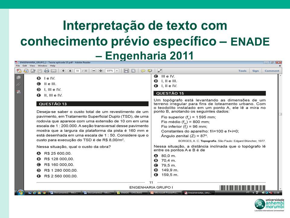Interpretação de texto com conhecimento prévio específico – ENADE – Engenharia 2011