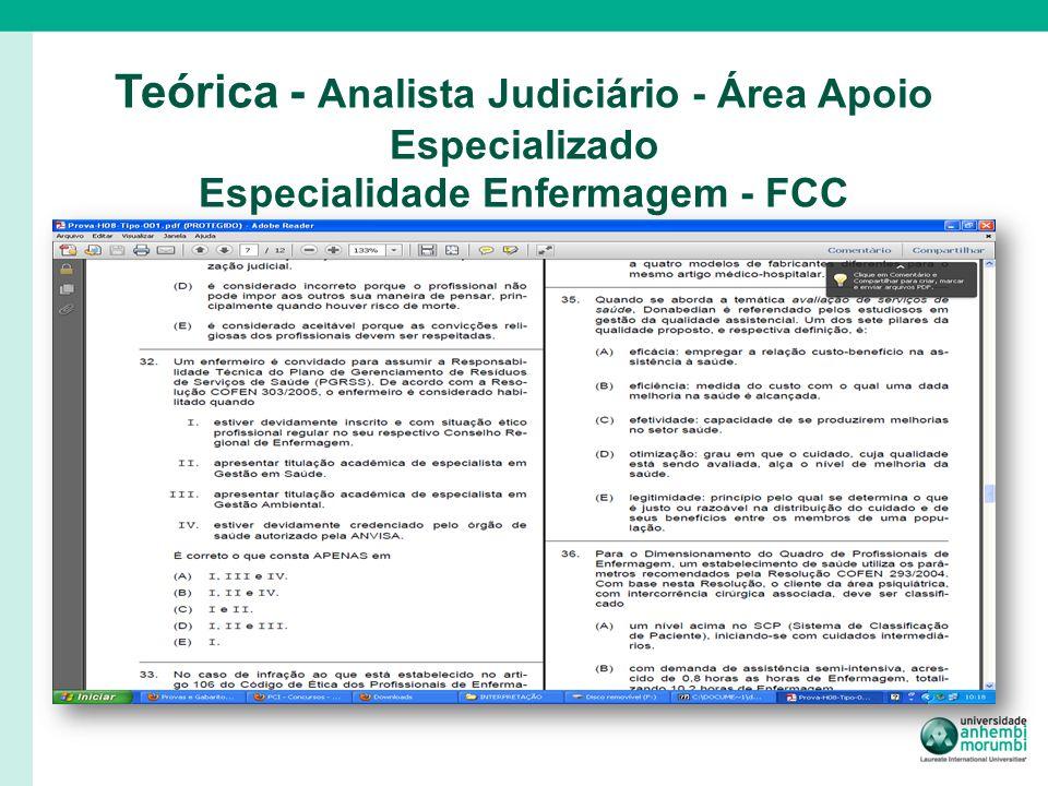 Teórica - Analista Judiciário - Área Apoio Especializado Especialidade Enfermagem - FCC