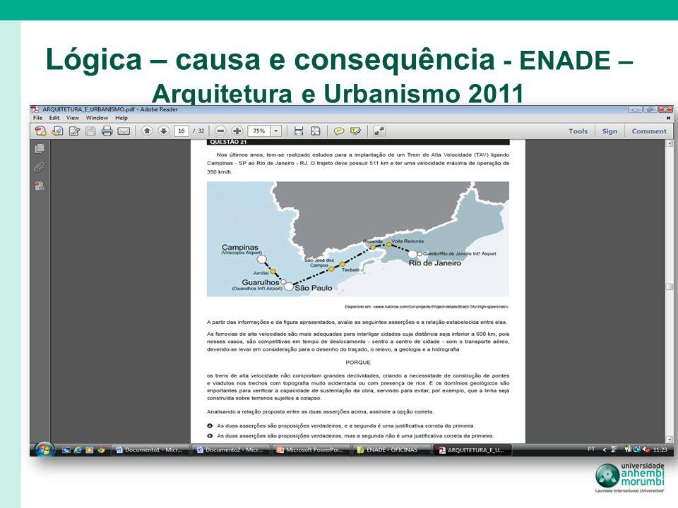 Lógica – causa e consequência - ENADE – Arquitetura e Urbanismo 2011