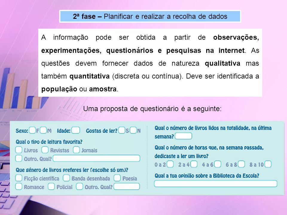 2ª fase – Planificar e realizar a recolha de dados