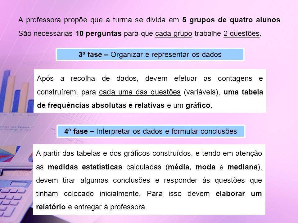 3ª fase – Organizar e representar os dados