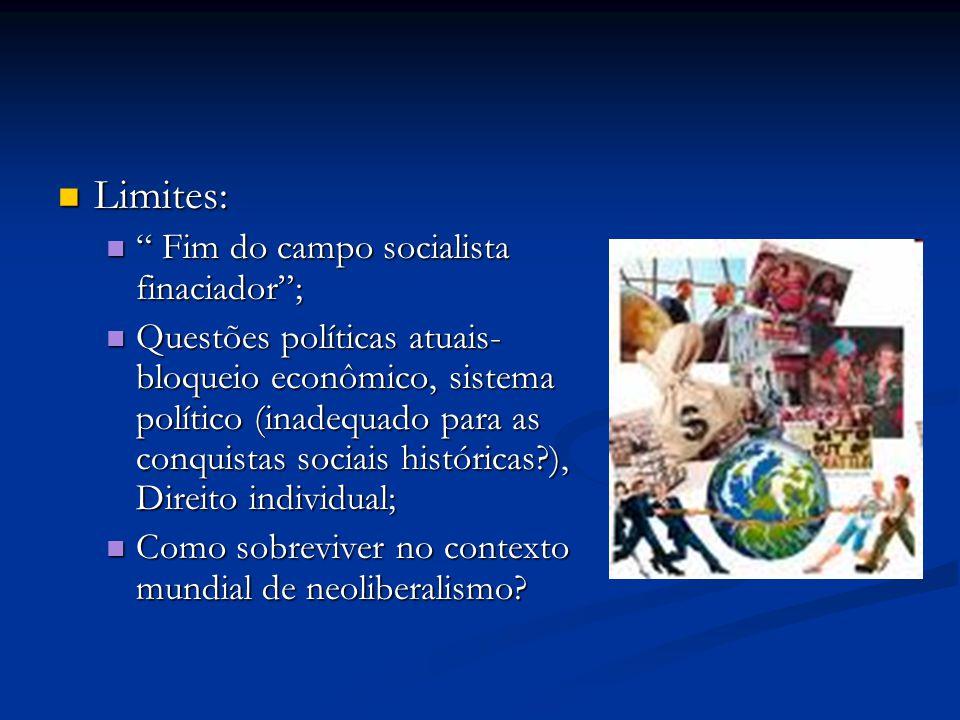Limites: Fim do campo socialista finaciador ;