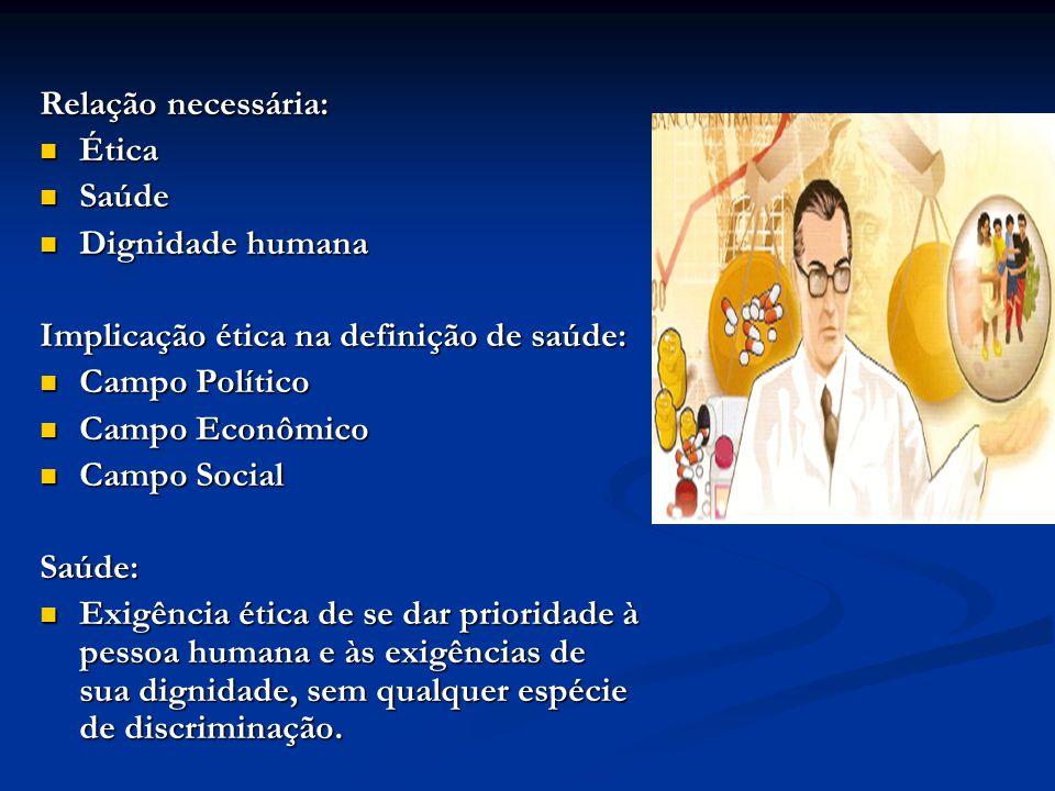 Relação necessária: Ética. Saúde. Dignidade humana. Implicação ética na definição de saúde: Campo Político.