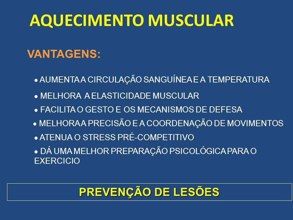 AQUECIMENTO MUSCULAR VANTAGENS: PREVENÇÃO DE LESÕES