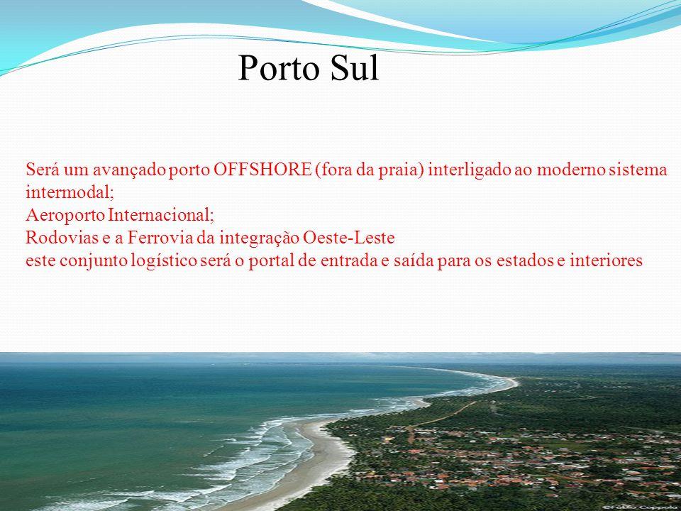 Porto Sul Será um avançado porto OFFSHORE (fora da praia) interligado ao moderno sistema intermodal;