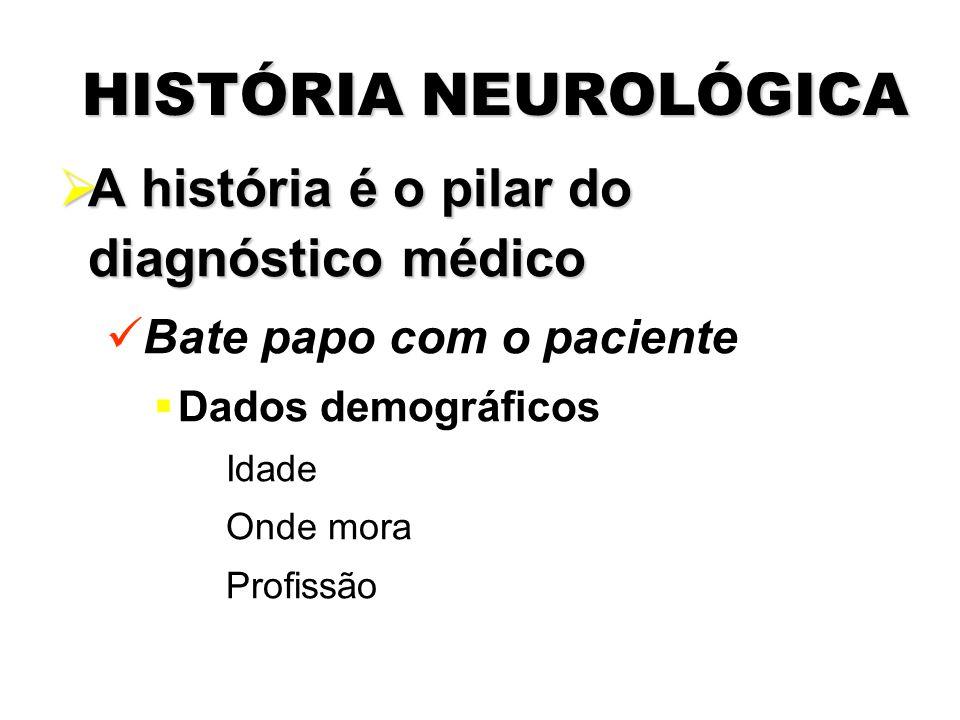 HISTÓRIA NEUROLÓGICA A história é o pilar do diagnóstico médico