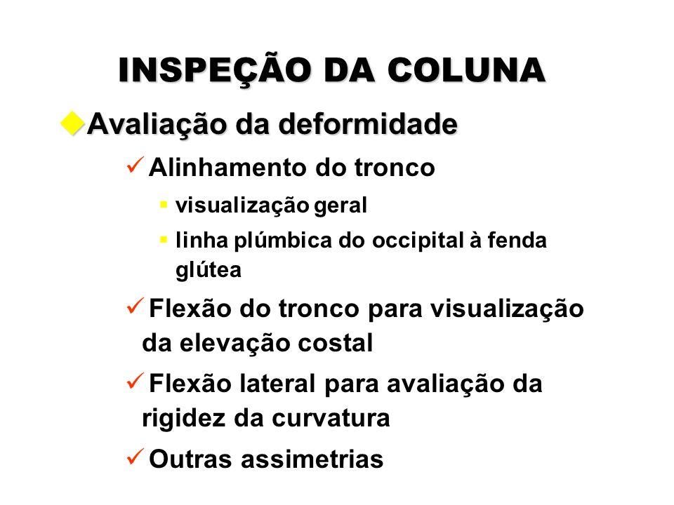 INSPEÇÃO DA COLUNA Avaliação da deformidade Alinhamento do tronco