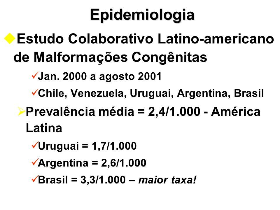 Epidemiologia Estudo Colaborativo Latino-americano de Malformações Congênitas. Jan. 2000 a agosto 2001.
