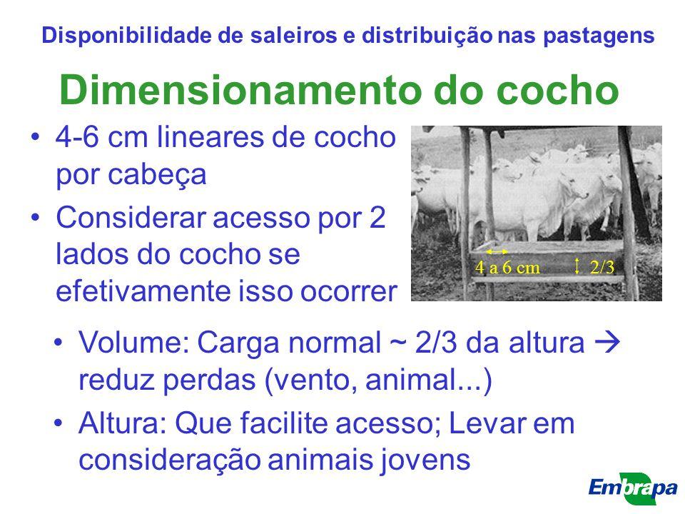 Dimensionamento do cocho