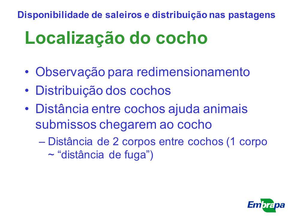 Localização do cocho Observação para redimensionamento