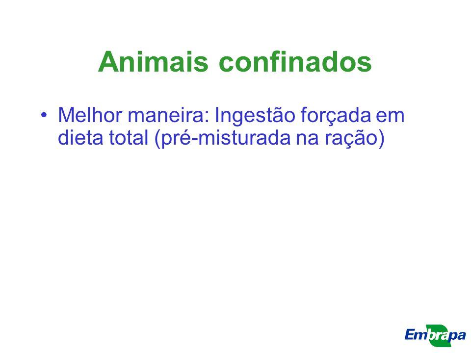 Animais confinados Melhor maneira: Ingestão forçada em dieta total (pré-misturada na ração)