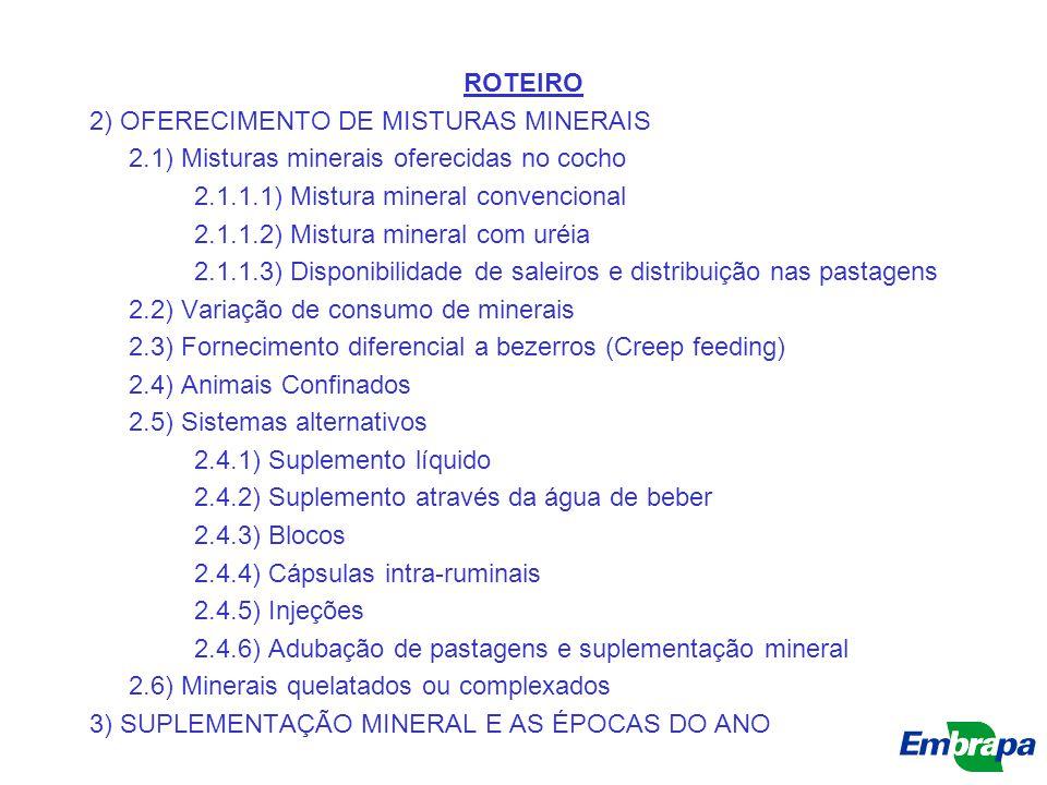 ROTEIRO 2) OFERECIMENTO DE MISTURAS MINERAIS. 2.1) Misturas minerais oferecidas no cocho. 2.1.1.1) Mistura mineral convencional.