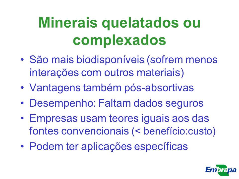 Minerais quelatados ou complexados