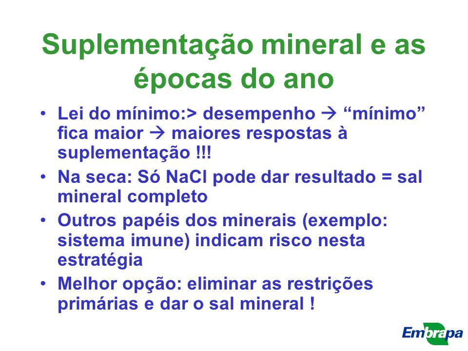Suplementação mineral e as épocas do ano