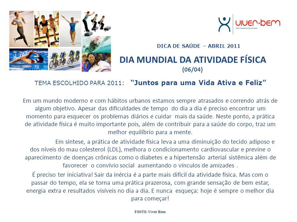 DIA MUNDIAL DA ATIVIDADE FÍSICA (06/04)