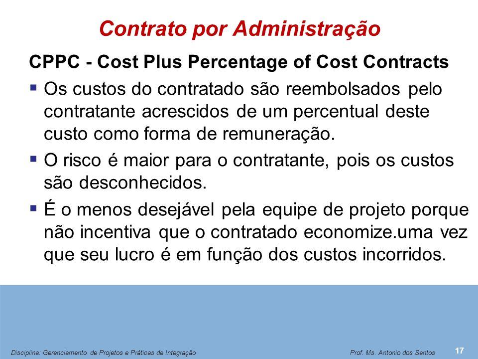 Contrato de Custo (Administração) com Prêmio Fixo
