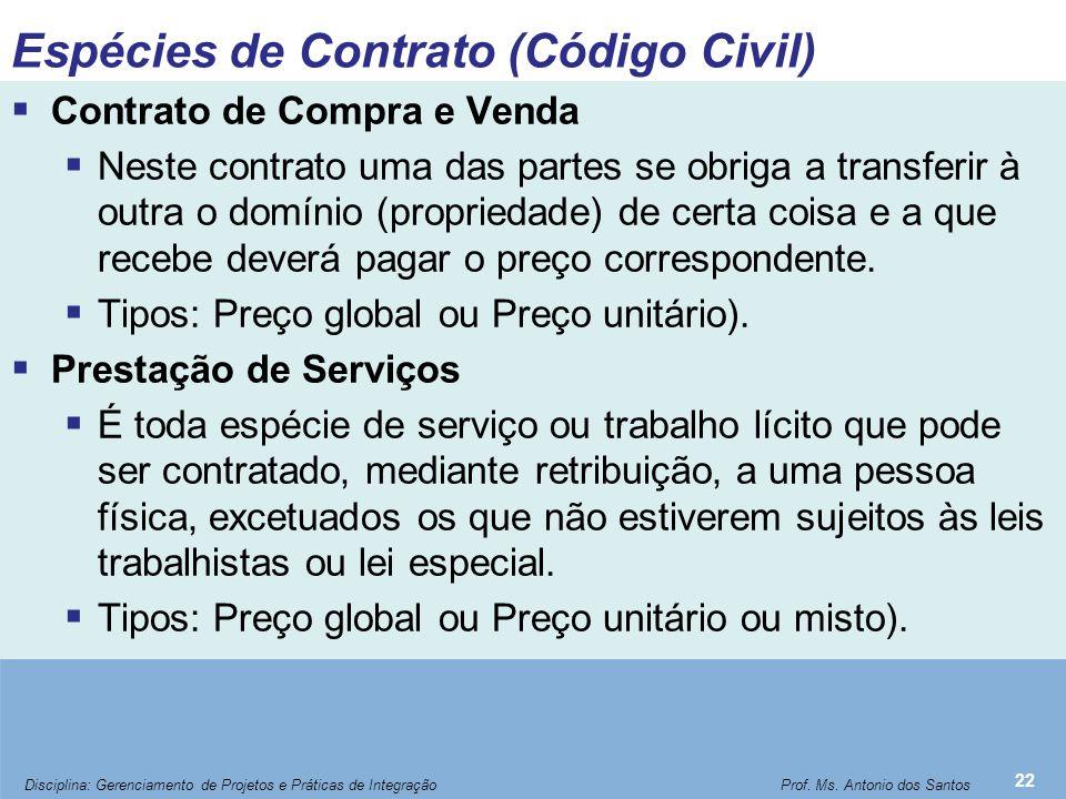Espécies de Contrato (Código Civil)
