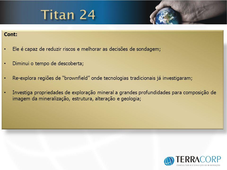 Titan 24 Cont: Ele é capaz de reduzir riscos e melhorar as decisões de sondagem; Diminui o tempo de descoberta;