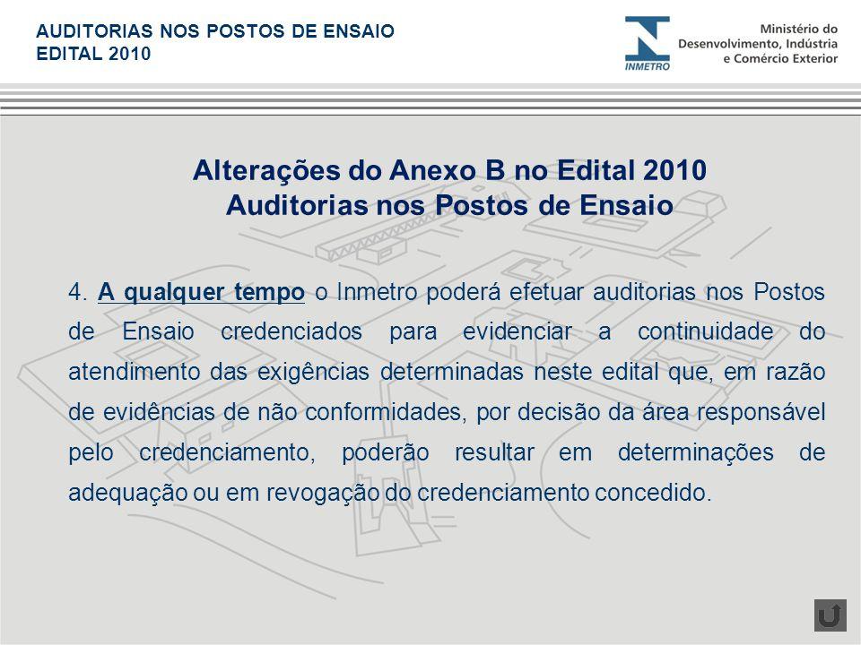 Alterações do Anexo B no Edital 2010 Auditorias nos Postos de Ensaio