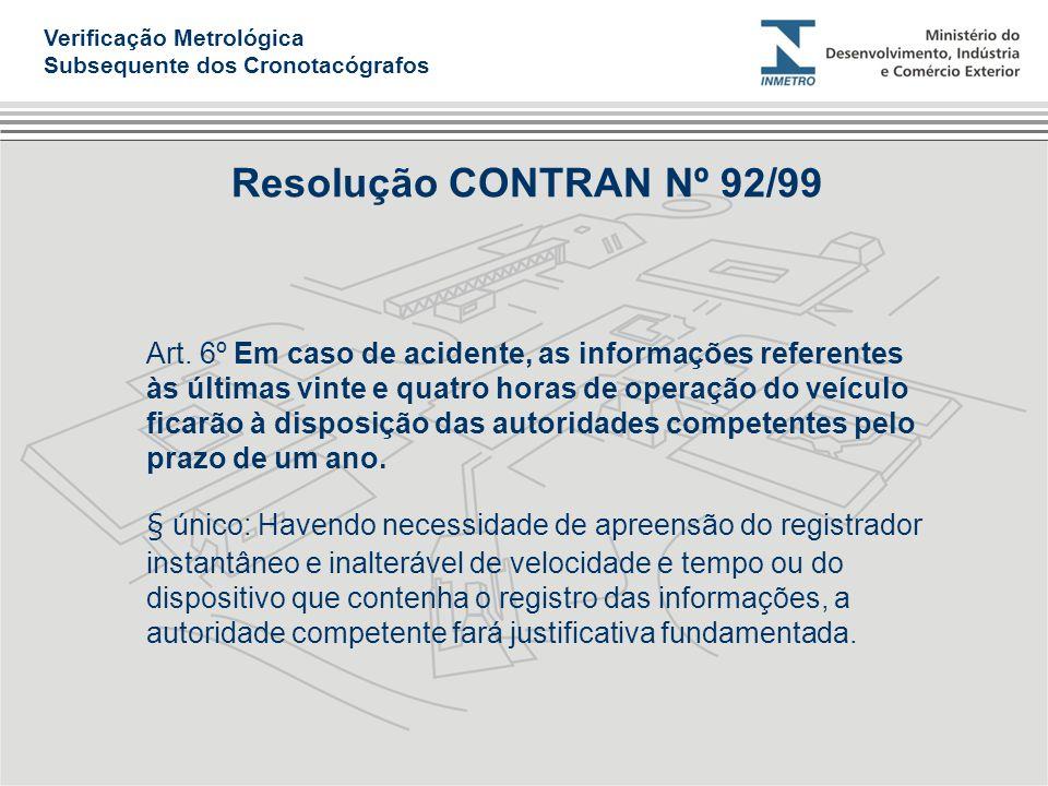 Verificação Metrológica Subsequente dos Cronotacógrafos