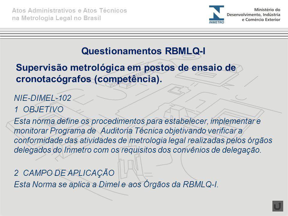 Questionamentos RBMLQ-I