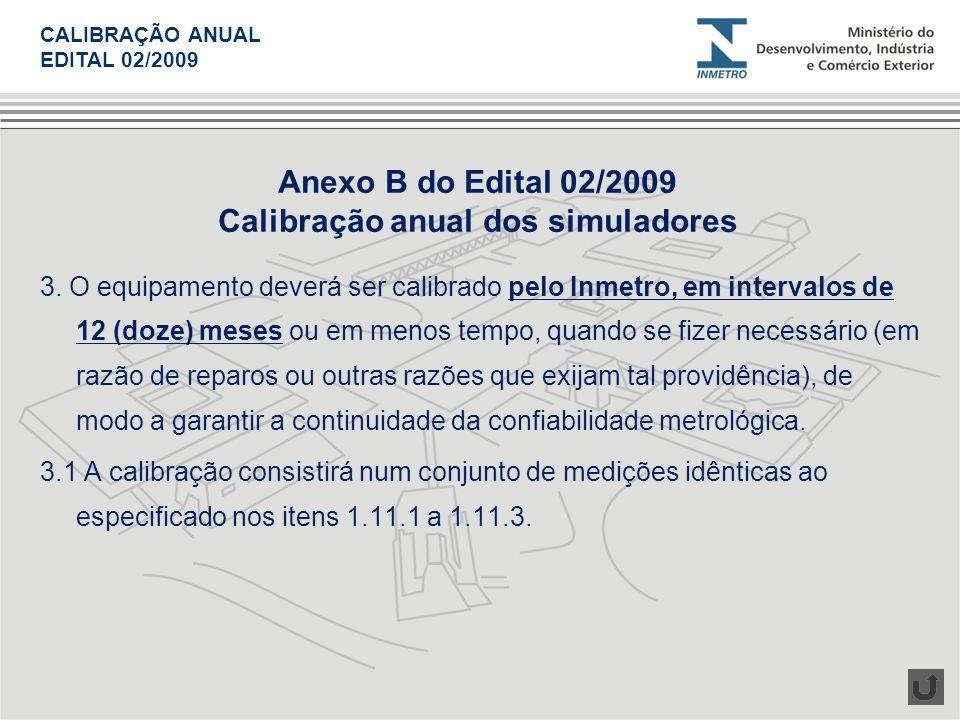 Calibração anual dos simuladores