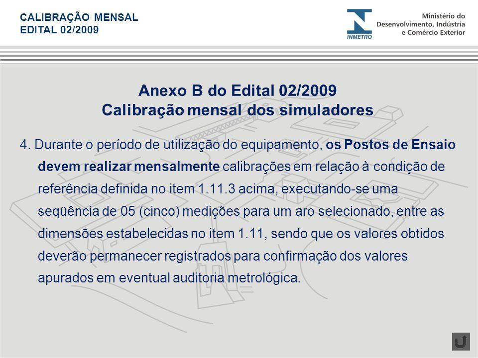 Calibração mensal dos simuladores