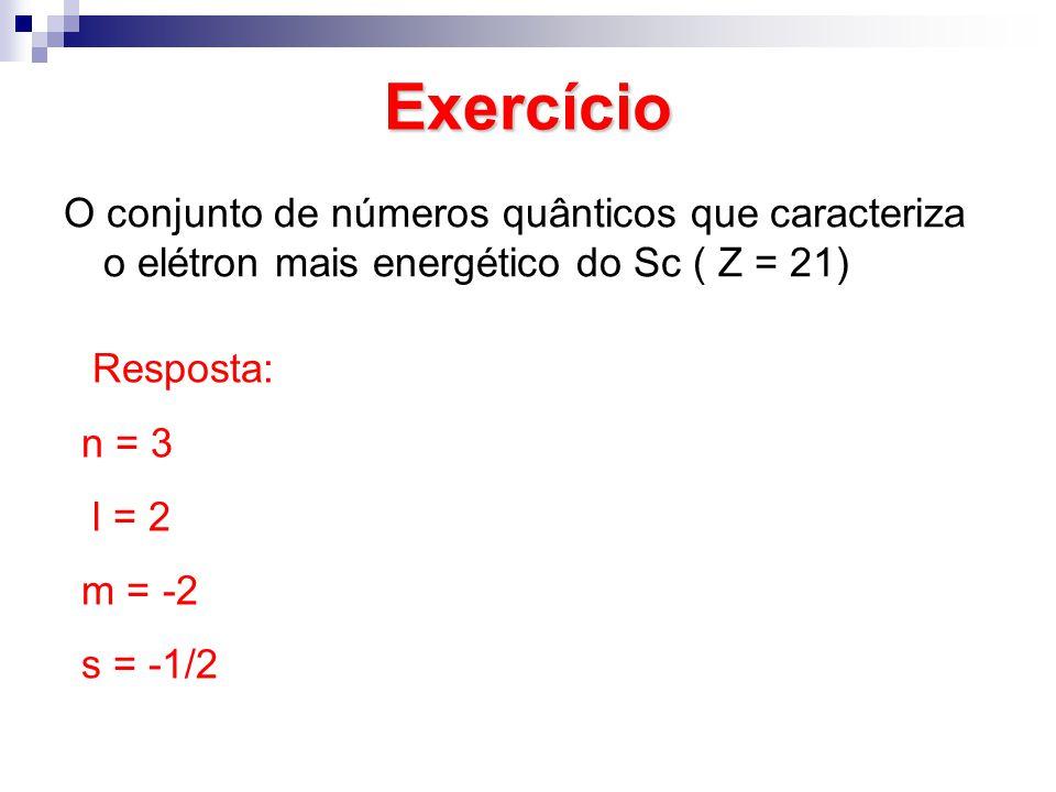 Exercício O conjunto de números quânticos que caracteriza o elétron mais energético do Sc ( Z = 21)